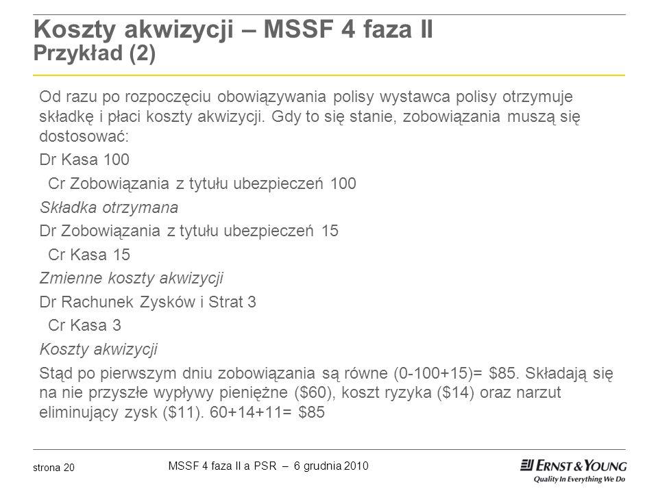 MSSF 4 faza II a PSR – 6 grudnia 2010 strona 20 Koszty akwizycji – MSSF 4 faza II Przykład (2) Od razu po rozpoczęciu obowiązywania polisy wystawca po