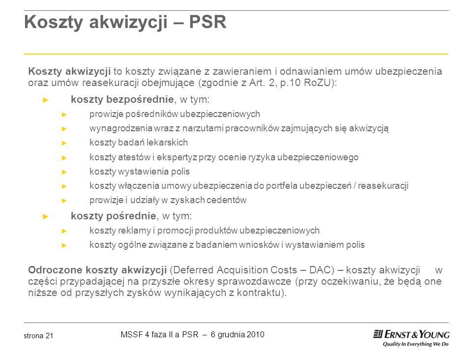MSSF 4 faza II a PSR – 6 grudnia 2010 strona 21 Koszty akwizycji – PSR Koszty akwizycji to koszty związane z zawieraniem i odnawianiem umów ubezpiecze