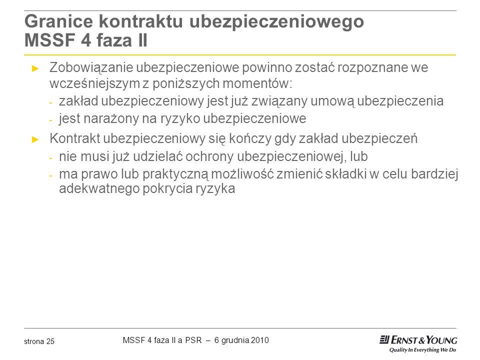 MSSF 4 faza II a PSR – 6 grudnia 2010 strona 25 Granice kontraktu ubezpieczeniowego MSSF 4 faza II ► Zobowiązanie ubezpieczeniowe powinno zostać rozpo
