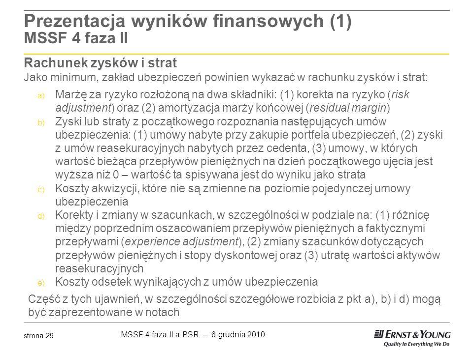 MSSF 4 faza II a PSR – 6 grudnia 2010 strona 29 Prezentacja wyników finansowych (1) MSSF 4 faza II Rachunek zysków i strat Jako minimum, zakład ubezpi