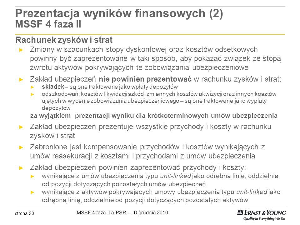 MSSF 4 faza II a PSR – 6 grudnia 2010 strona 30 Prezentacja wyników finansowych (2) MSSF 4 faza II Rachunek zysków i strat ► Zmiany w szacunkach stopy