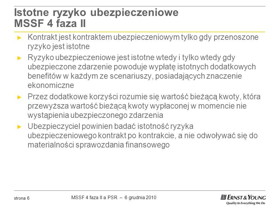 MSSF 4 faza II a PSR – 6 grudnia 2010 strona 27 Prezentacja sytuacji finansowej - bilans MSSF 4 faza II ► Każdy portfel umów ubezpieczenia powinien być zaprezentowany w odrębnej linii w aktywach i zobowiązaniach zakładu ubezpieczeń ► Zabronione jest kompensowanie aktywów wynikających z umów reasekuracji z zobowiązaniami z umów ubezpieczenia ► Zakład ubezpieczeń powinien zaprezentować: ► Aktywa wynikające z umów ubezpieczenia typu unit-linked jako odrębną linię, oddzielnie od pozostałych aktywów ► Zobowiązania wynikające z umów ubezpieczenia typu unit-linked jako odrębną linię, oddzielnie od pozostałych zobowiązań ubezpieczeniowych