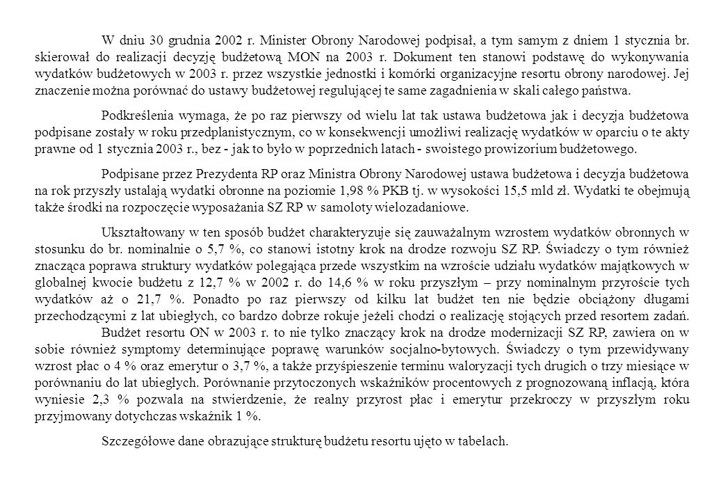 W dniu 30 grudnia 2002 r. Minister Obrony Narodowej podpisał, a tym samym z dniem 1 stycznia br. skierował do realizacji decyzję budżetową MON na 2003