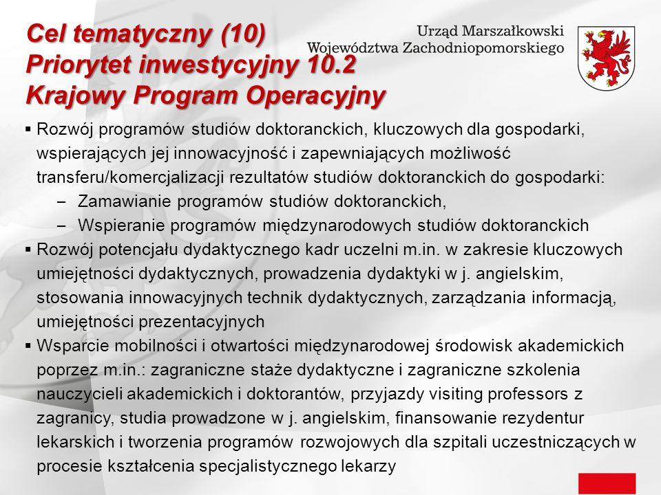  Rozwój programów studiów doktoranckich, kluczowych dla gospodarki, wspierających jej innowacyjność i zapewniających możliwość transferu/komercjaliza