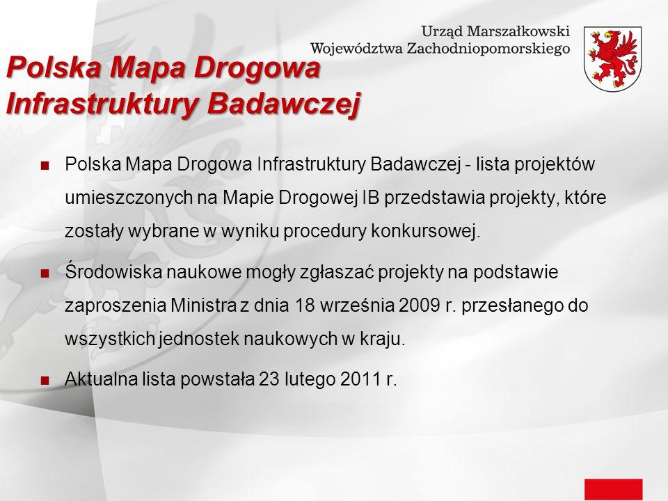 Polska Mapa Drogowa Infrastruktury Badawczej - lista projektów umieszczonych na Mapie Drogowej IB przedstawia projekty, które zostały wybrane w wyniku