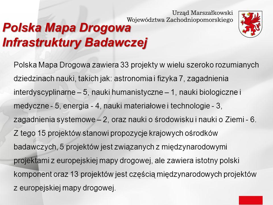 Polska Mapa Drogowa zawiera 33 projekty w wielu szeroko rozumianych dziedzinach nauki, takich jak: astronomia i fizyka 7, zagadnienia interdyscyplinar