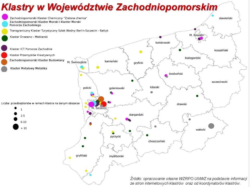 Klastry w Województwie Zachodniopomorskim Źródło: opracowanie własne WZRPO UMWZ na podstawie informacji ze stron internetowych klastrów oraz od koordy
