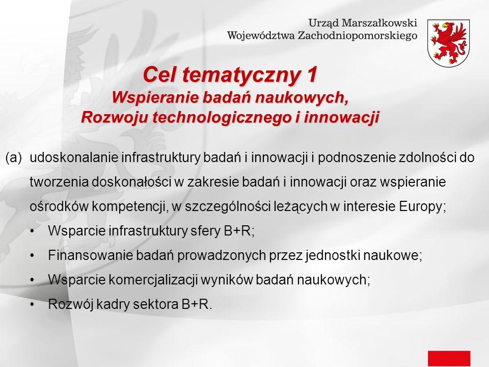 Cel tematyczny 1 Wspieranie badań naukowych, Rozwoju technologicznego i innowacji (a)udoskonalanie infrastruktury badań i innowacji i podnoszenie zdol