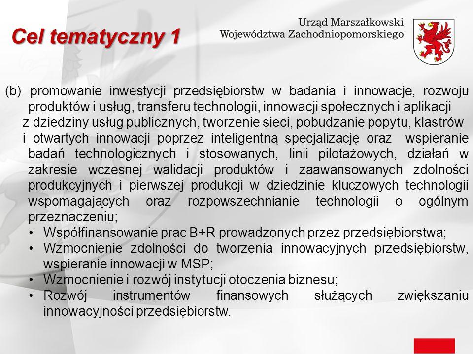 Cel tematyczny 1 (b) promowanie inwestycji przedsiębiorstw w badania i innowacje, rozwoju produktów i usług, transferu technologii, innowacji społeczn