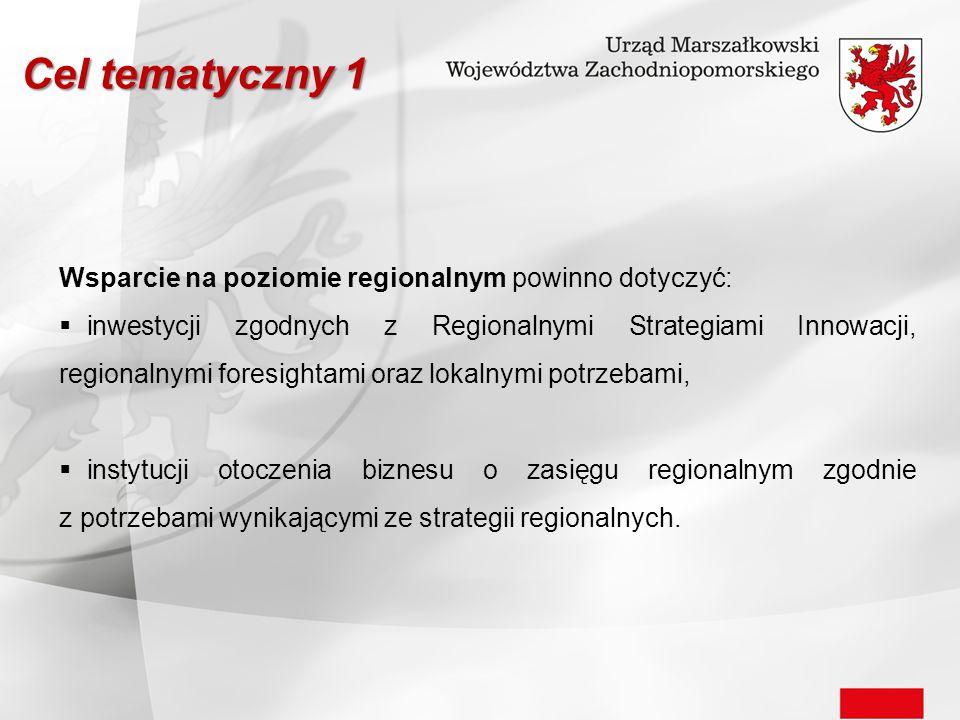 Wsparcie na poziomie regionalnym powinno dotyczyć:  inwestycji zgodnych z Regionalnymi Strategiami Innowacji, regionalnymi foresightami oraz lokalnym