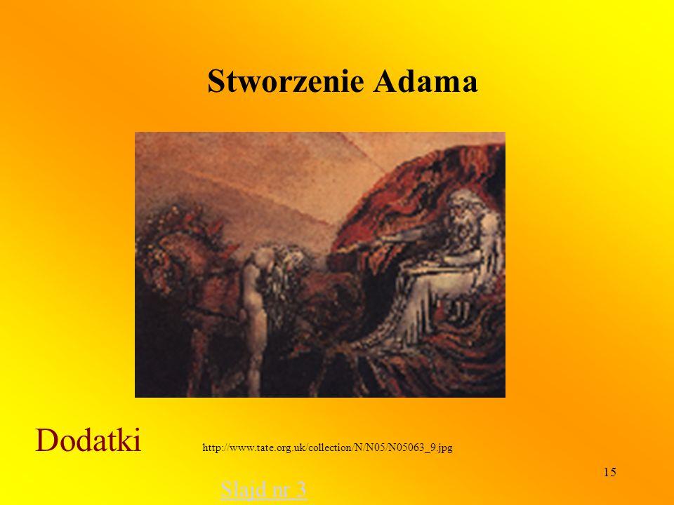 15 Stworzenie Adama Dodatki http://www.tate.org.uk/collection/N/N05/N05063_9.jpg Slajd nr 3