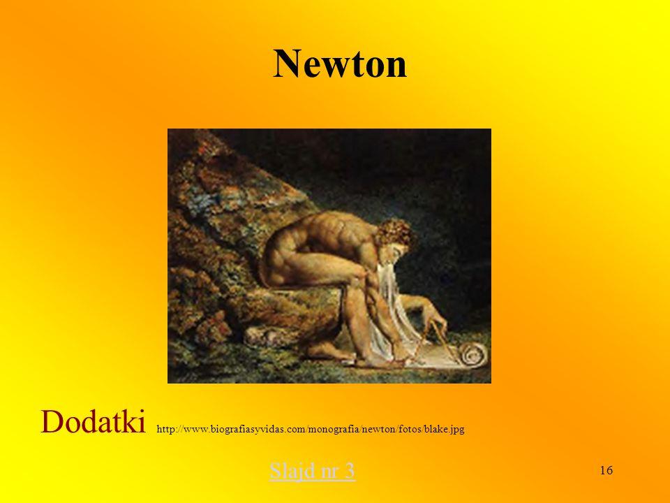 16 Newton Dodatki http://www.biografiasyvidas.com/monografia/newton/fotos/blake.jpg Slajd nr 3