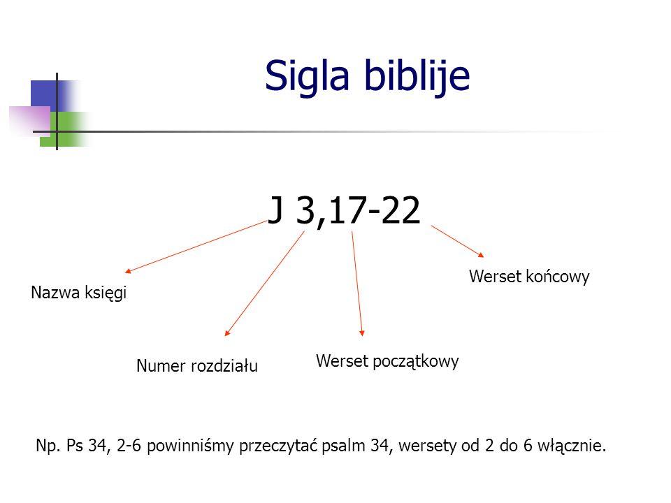 Sigla biblije J 3,17-22 Nazwa księgi Numer rozdziału Werset początkowy Werset końcowy Np. Ps 34, 2-6 powinniśmy przeczytać psalm 34, wersety od 2 do 6