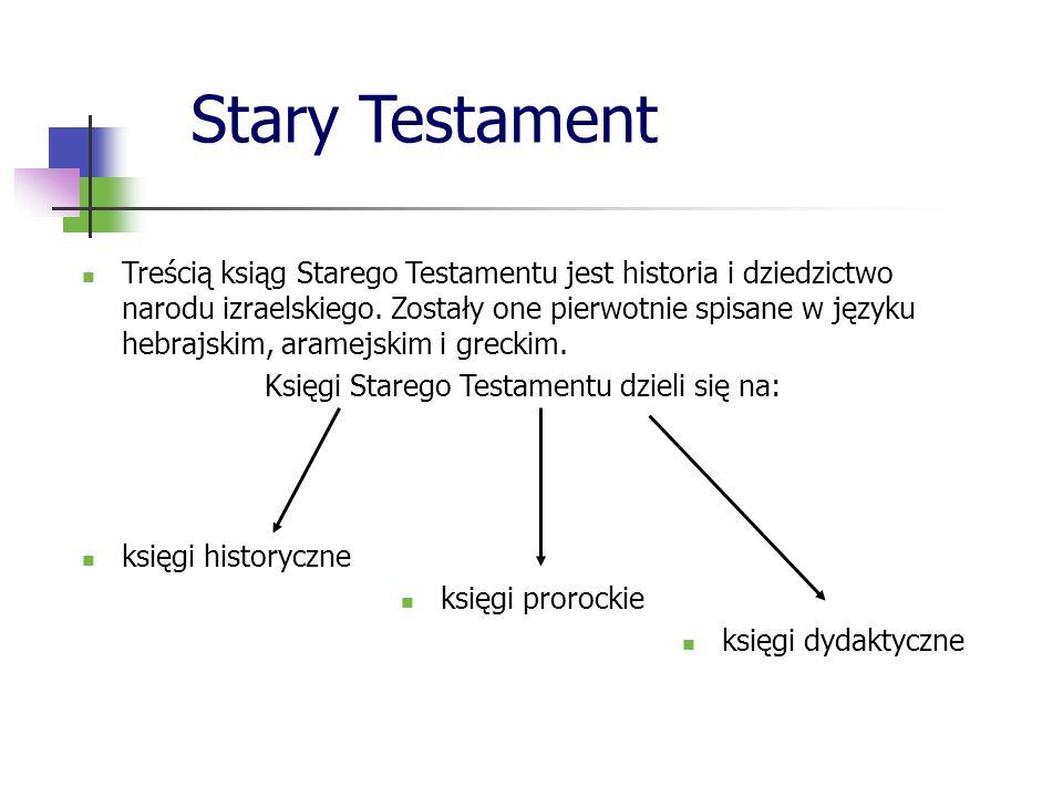 Stary Testament Treścią ksiąg Starego Testamentu jest historia i dziedzictwo narodu izraelskiego. Zostały one pierwotnie spisane w języku hebrajskim,