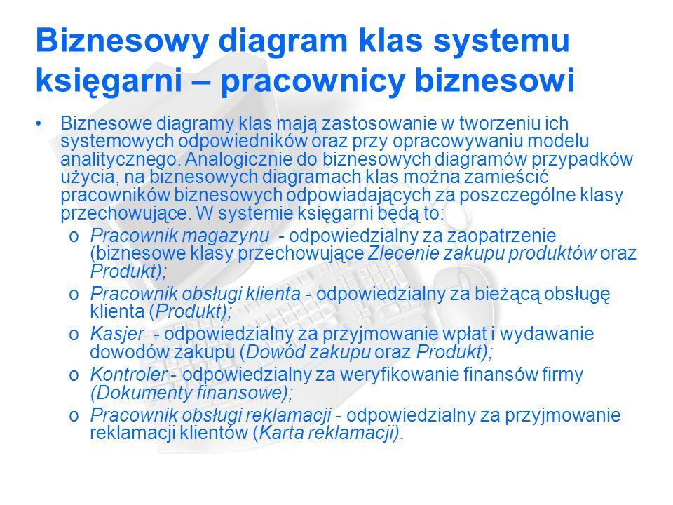 Biznesowy diagram klas systemu księgarni – pracownicy biznesowi Biznesowe diagramy klas mają zastosowanie w tworzeniu ich systemowych odpowiedników oraz przy opracowywaniu modelu analitycznego.