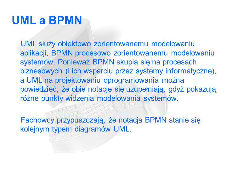 UML a BPMN UML służy obiektowo zorientowanemu modelowaniu aplikacji, BPMN procesowo zorientowanemu modelowaniu systemów.