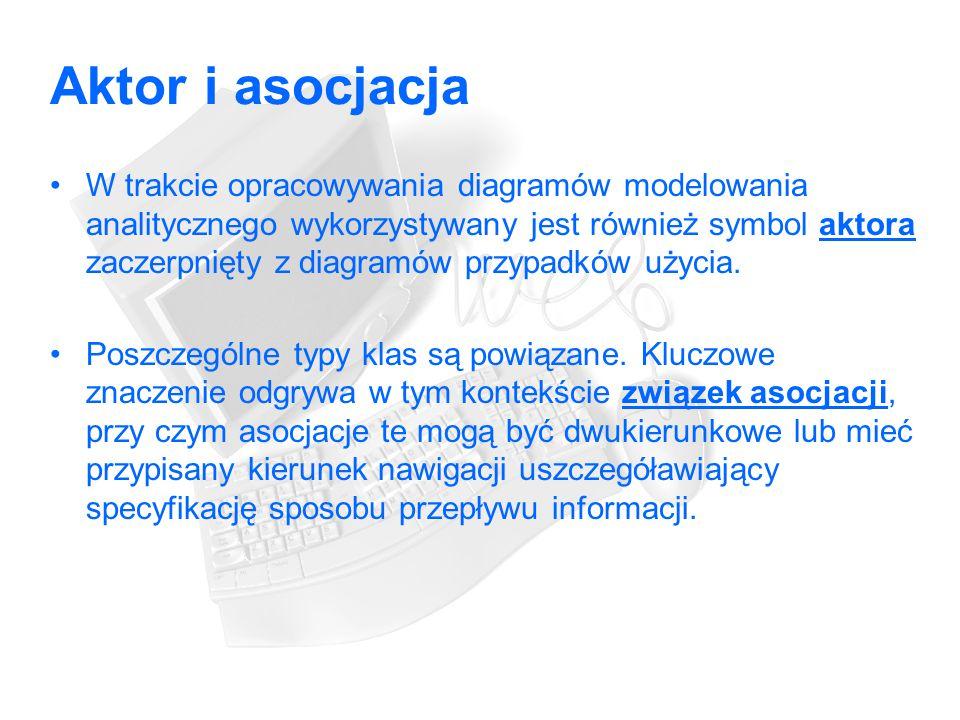 Aktor i asocjacja W trakcie opracowywania diagramów modelowania analitycznego wykorzystywany jest również symbol aktora zaczerpnięty z diagramów przypadków użycia.