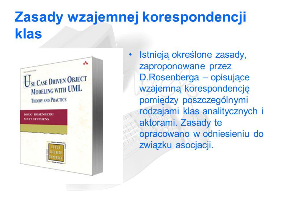 Zasady wzajemnej korespondencji klas Istnieją określone zasady, zaproponowane przez D.Rosenberga – opisujące wzajemną korespondencję pomiędzy poszczególnymi rodzajami klas analitycznych i aktorami.