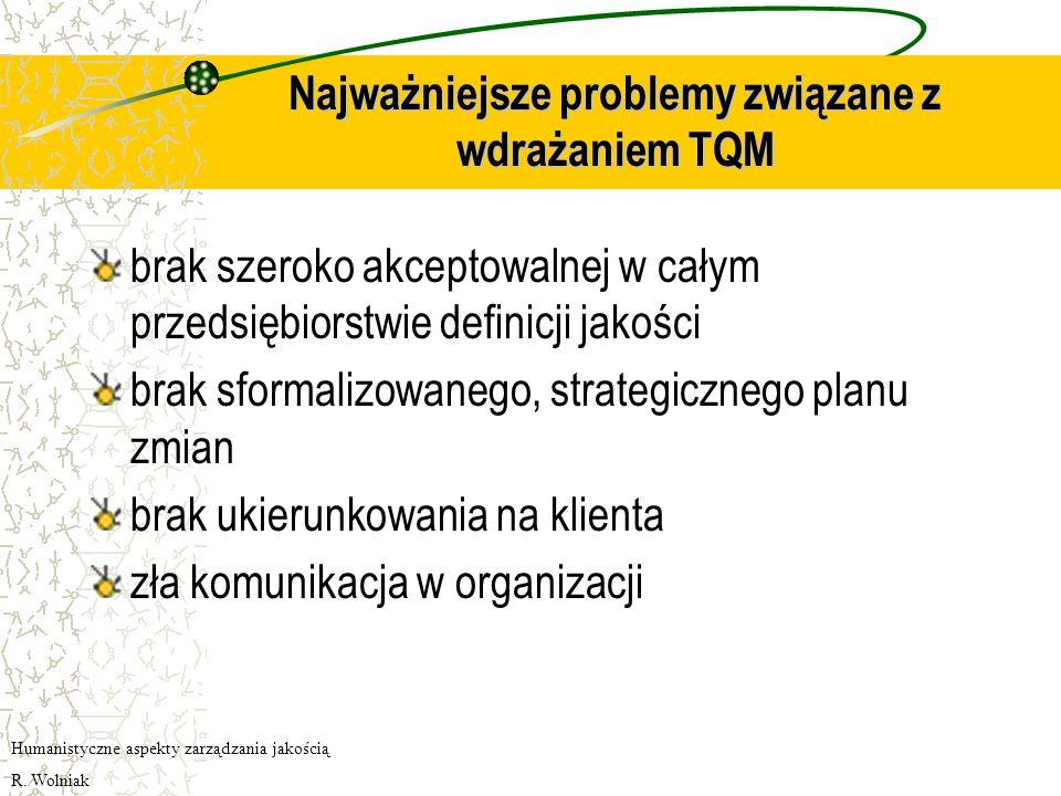 Etyka biznesu Przedsiębiorstwo wdrażające TQM nie może uzyskiwać wysokiej sprzedaży kosztem zachowań nieetycznych i oszukiwania klienta. Organizacja n