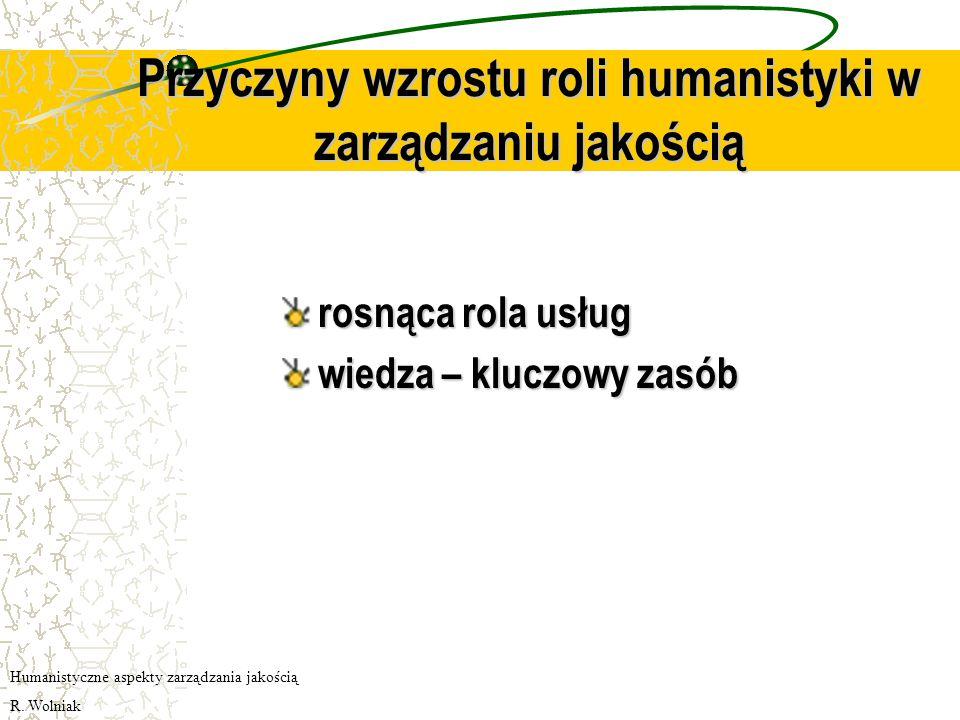 Przyczyny wzrostu roli humanistyki w zarządzaniu jakością rosnąca rola usług wiedza – kluczowy zasób Humanistyczne aspekty zarządzania jakością R.