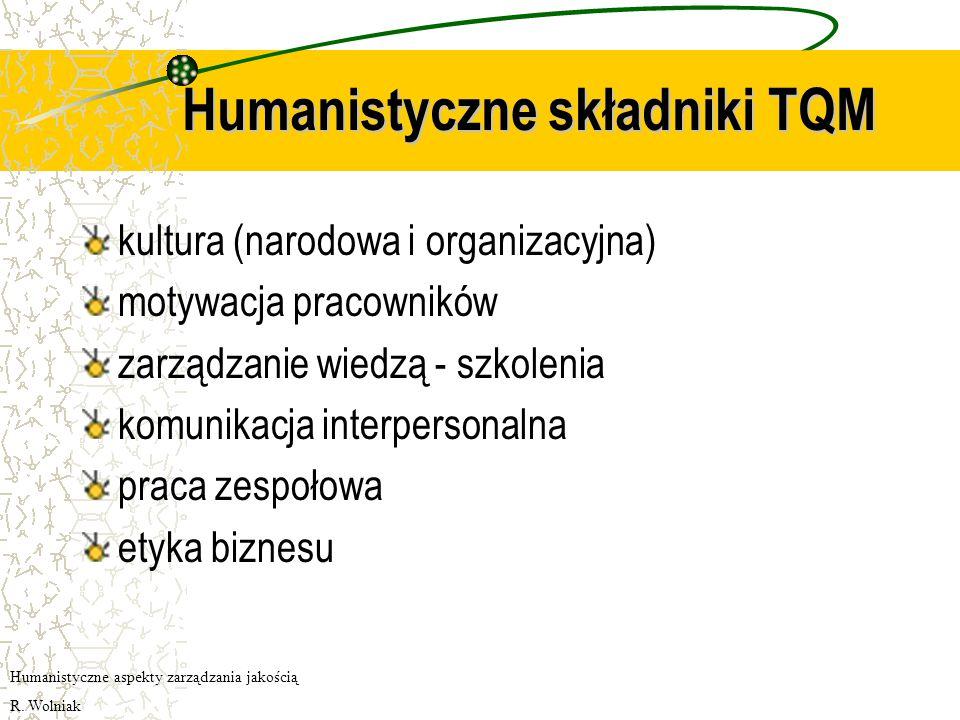 Humanistyczne składniki TQM kultura (narodowa i organizacyjna) motywacja pracowników zarządzanie wiedzą - szkolenia komunikacja interpersonalna praca zespołowa etyka biznesu Humanistyczne aspekty zarządzania jakością R.