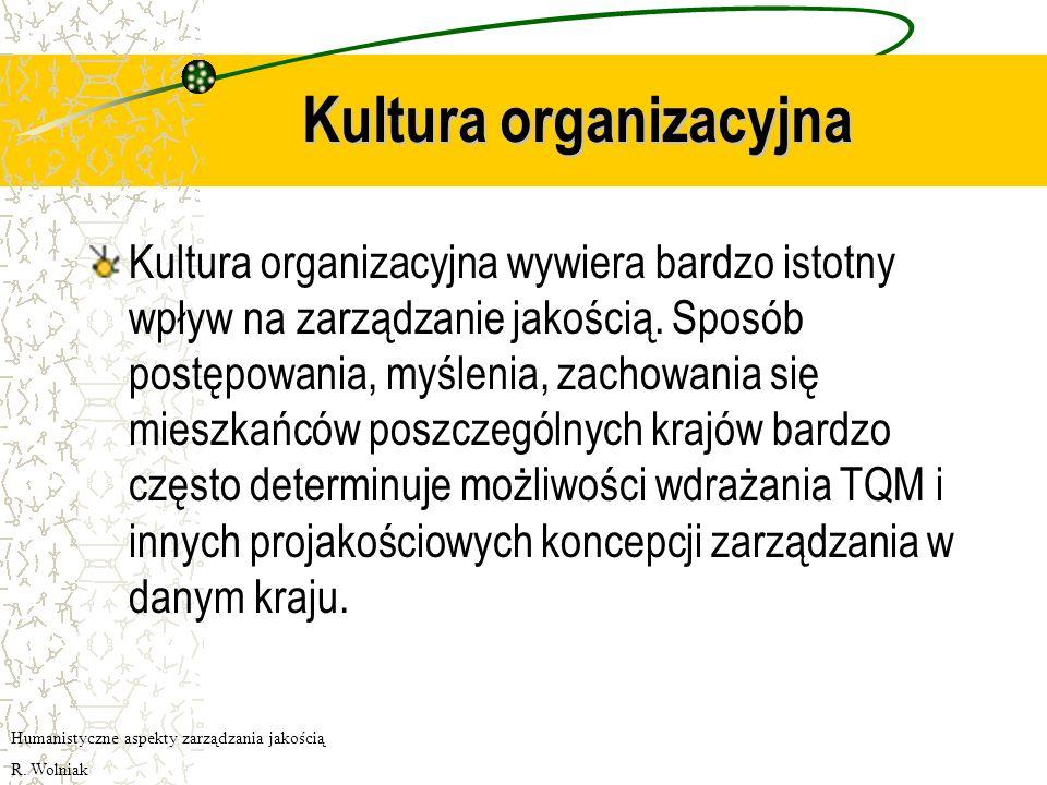 Kultura organizacyjna Kultura organizacyjna wywiera bardzo istotny wpływ na zarządzanie jakością.