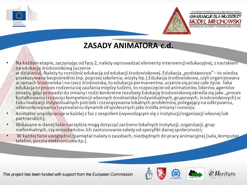 ZASADY ANIMATORA c.d. Na każdym etapie, zaczynając od fazy 2, należy wprowadzać elementy interwencji edukacyjnej, z naciskiem na edukację środowiskową