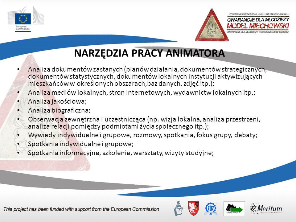 NARZĘDZIA PRACY ANIMATORA Analiza dokumentów zastanych (planów działania, dokumentów strategicznych, dokumentów statystycznych, dokumentów lokalnych i
