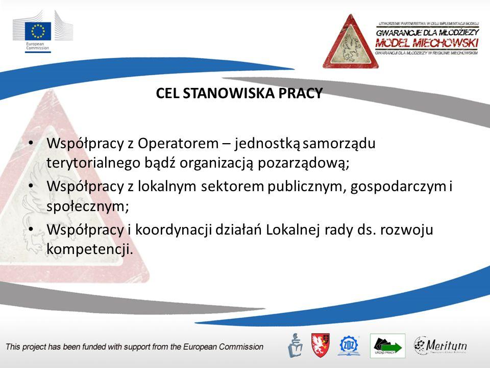 CEL STANOWISKA PRACY Współpracy z Operatorem – jednostką samorządu terytorialnego bądź organizacją pozarządową; Współpracy z lokalnym sektorem publicz