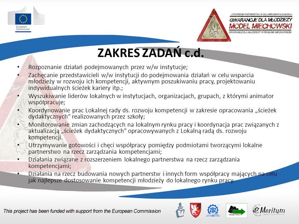 ZAKRES ZADAŃ c.d. Rozpoznanie działań podejmowanych przez w/w instytucje; Zachęcanie przedstawicieli w/w instytucji do podejmowania działań w celu wsp