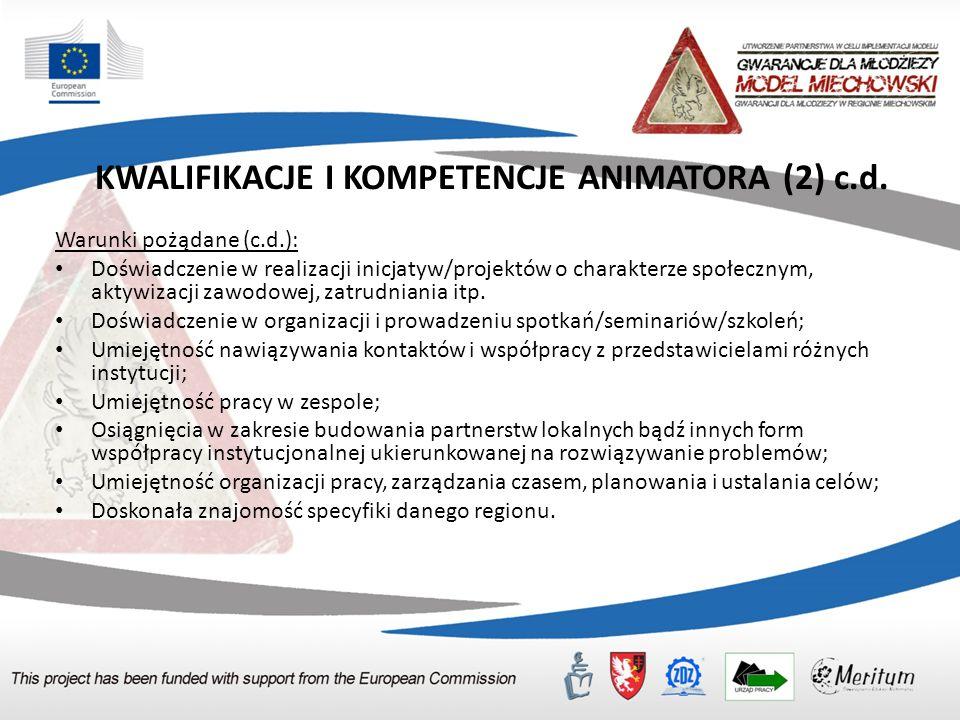 KWALIFIKACJE I KOMPETENCJE ANIMATORA (2) c.d. Warunki pożądane (c.d.): Doświadczenie w realizacji inicjatyw/projektów o charakterze społecznym, aktywi