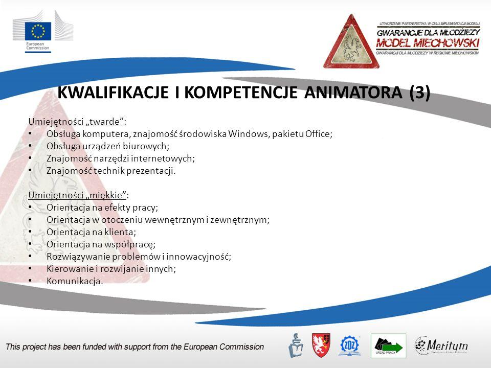 """KWALIFIKACJE I KOMPETENCJE ANIMATORA (3) Umiejętności """"twarde"""": Obsługa komputera, znajomość środowiska Windows, pakietu Office; Obsługa urządzeń biur"""