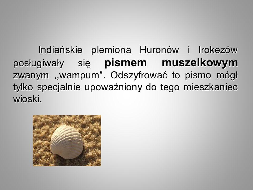 Indiańskie plemiona Huronów i Irokezów posługiwały się pismem muszelkowym zwanym,,wampum
