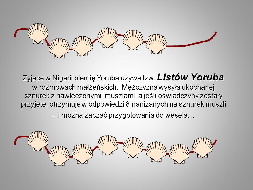 Żyjące w Nigerii plemię Yoruba używa tzw. Listów Yoruba w rozmowach małżeńskich. Mężczyzna wysyła ukochanej sznurek z nawleczonymi muszlami, a jeśli o