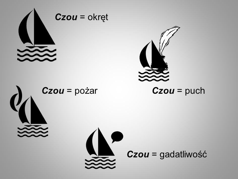 Czou = okręt Czou = pożar Czou = gadatliwość Czou = puch