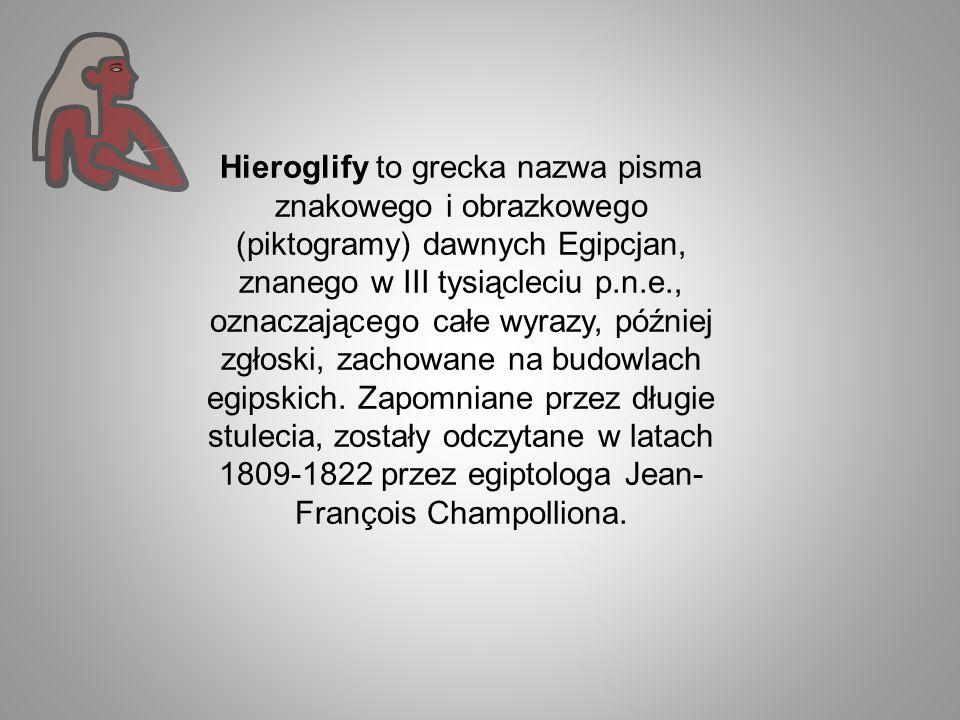 Hieroglify to grecka nazwa pisma znakowego i obrazkowego (piktogramy) dawnych Egipcjan, znanego w III tysiącleciu p.n.e., oznaczającego całe wyrazy, p