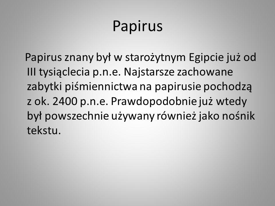 Papirus Papirus znany był w starożytnym Egipcie już od III tysiąclecia p.n.e. Najstarsze zachowane zabytki piśmiennictwa na papirusie pochodzą z ok. 2