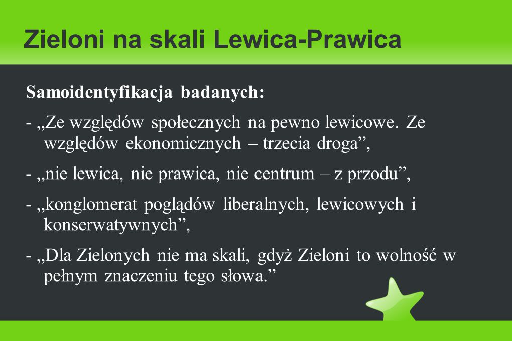 """Zieloni na skali Lewica-Prawica Samoidentyfikacja badanych: - """"Ze względów społecznych na pewno lewicowe."""