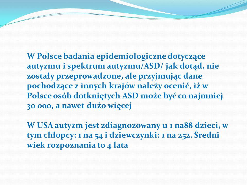 W Polsce badania epidemiologiczne dotyczące autyzmu i spektrum autyzmu/ASD/ jak dotąd, nie zostały przeprowadzone, ale przyjmując dane pochodzące z in