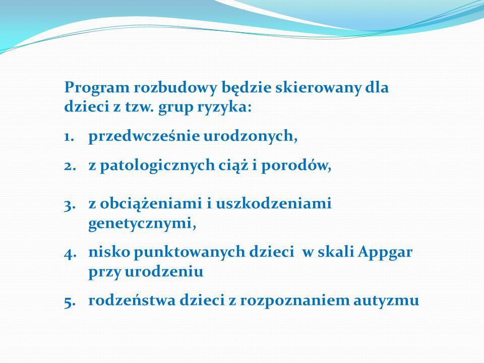 Program rozbudowy będzie skierowany dla dzieci z tzw. grup ryzyka: 1.przedwcześnie urodzonych, 2.z patologicznych ciąż i porodów, 3.z obciążeniami i u