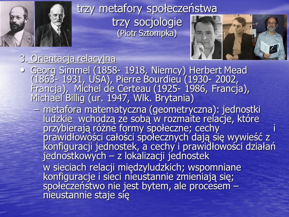 trzy metafory społeczeństwa trzy socjologie (Piotr Sztompka) 3. Orientacja relacyjna Georg Simmel (1858- 1918, Niemcy) Herbert Mead (1863- 1931, USA),