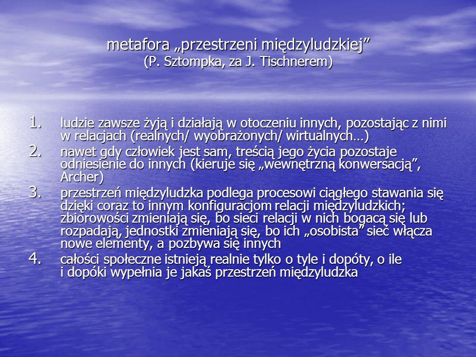 """metafora """"przestrzeni międzyludzkiej"""" (P. Sztompka, za J. Tischnerem) 1. ludzie zawsze żyją i działają w otoczeniu innych, pozostając z nimi w relacja"""