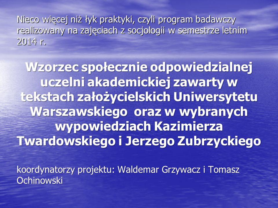 Nieco więcej niż łyk praktyki, czyli program badawczy realizowany na zajęciach z socjologii w semestrze letnim 2014 r. Wzorzec społecznie odpowiedzial