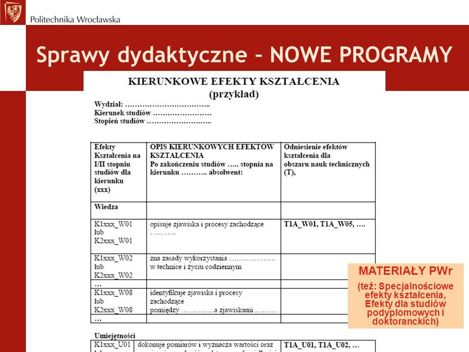 Sprawy dydaktyczne – NOWE PROGRAMY MATERIAŁY PWr (też: Specjalnościowe efekty kształcenia, Efekty dla studiów podyplomowych i doktoranckich)