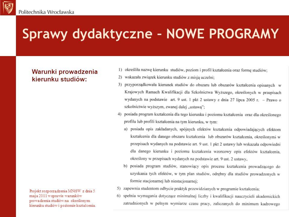 Sprawy dydaktyczne – NOWE PROGRAMY Warunki prowadzenia kierunku studiów: Projekt rozporządzenia MNiSW z dnia 5 maja 2011 w sprawie warunków prowadzenia studiów na określonym kierunku studiów i poziomie kształcenia.