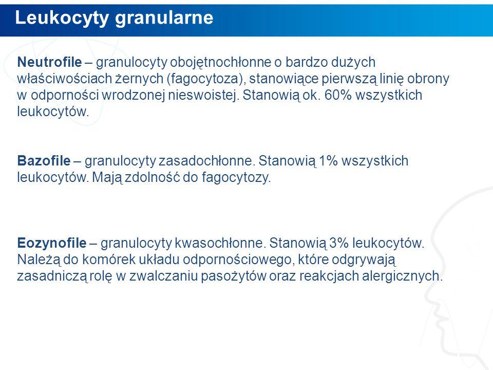 Leukocyty granularne 7 Neutrofile – granulocyty obojętnochłonne o bardzo dużych właściwościach żernych (fagocytoza), stanowiące pierwszą linię obrony w odporności wrodzonej nieswoistej.