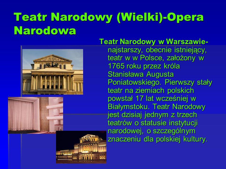 Teatr Narodowy (Wielki)-Opera Narodowa Teatr Narodowy w Warszawie- najstarszy, obecnie istniejący, teatr w w Polsce, założony w 1765 roku przez króla