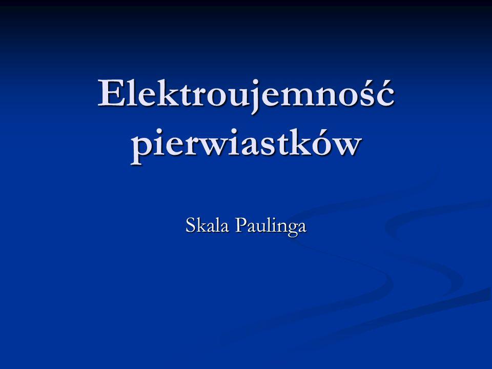 Elektroujemność pierwiastków Skala Paulinga