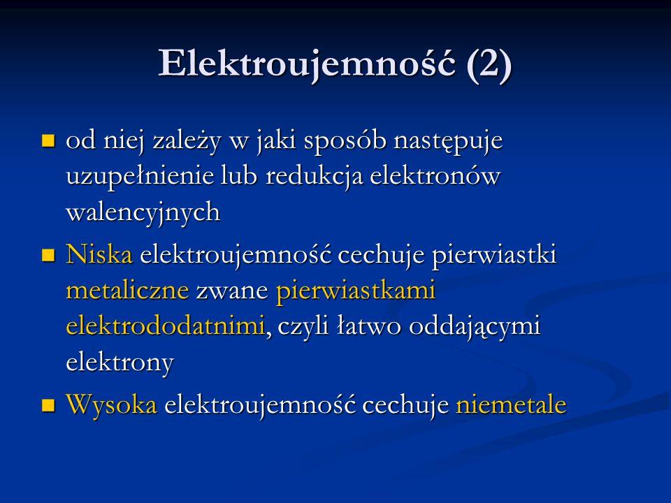 Elektroujemność (2) od niej zależy w jaki sposób następuje uzupełnienie lub redukcja elektronów walencyjnych od niej zależy w jaki sposób następuje uz