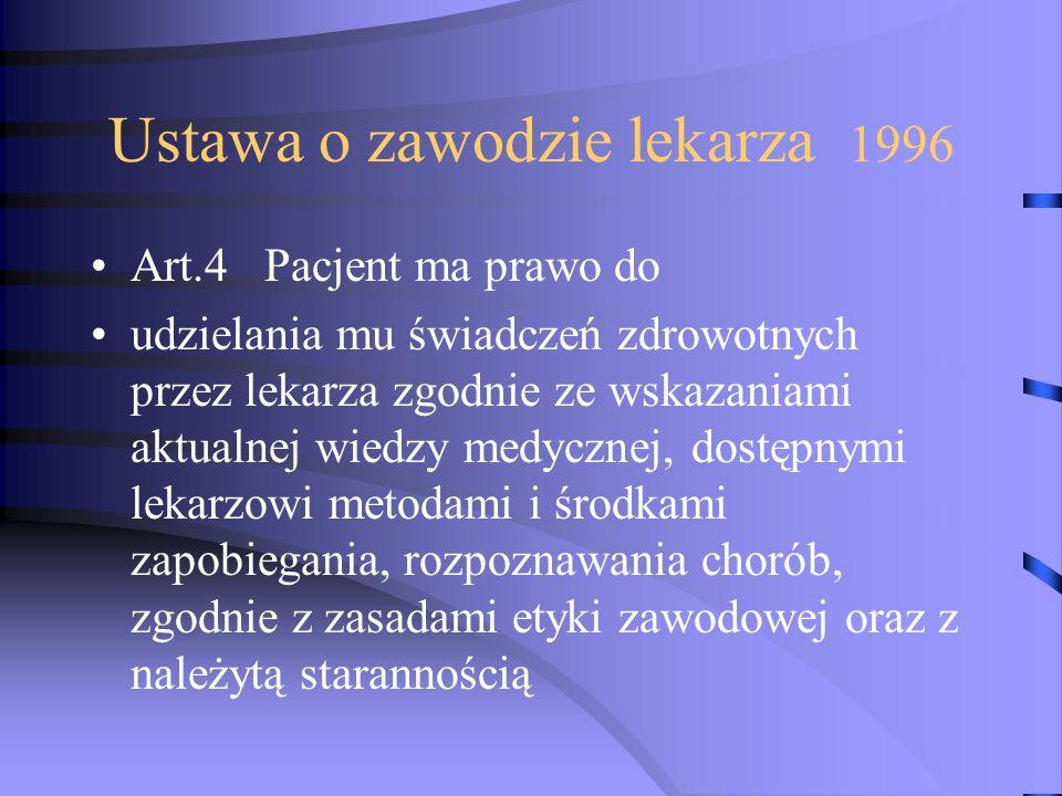 Ustawa o zawodzie lekarza 1996 Art.4 Pacjent ma prawo do udzielania mu świadczeń zdrowotnych przez lekarza zgodnie ze wskazaniami aktualnej wiedzy med